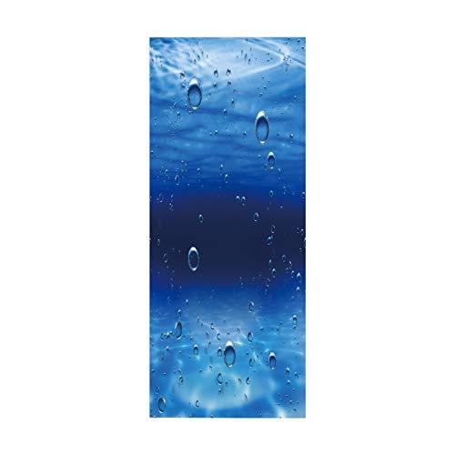 MACHINE BOY Pegatina de Puerta, póster, Papel Tapiz Mural para Dormitorio, Fondo Azul y Gotas de Agua, tamaño 90 * 200 cm