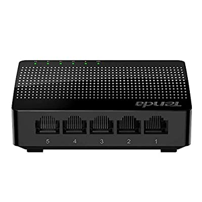 Tenda 5 Port Gigabit Ethernet Network Switch | Ethernet Splitter | Plug-and-Play | Traffic Optimization | Unmanaged (SG105), Black