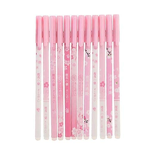 12 unidades + 50 recargas de bolígrafo borrable con punta fina de 0,5 mm, bolígrafo mágico de gel borrable por el calor, cometer errores desaparecer bolígrafos de bolas de colores pastel (azul cerezo)