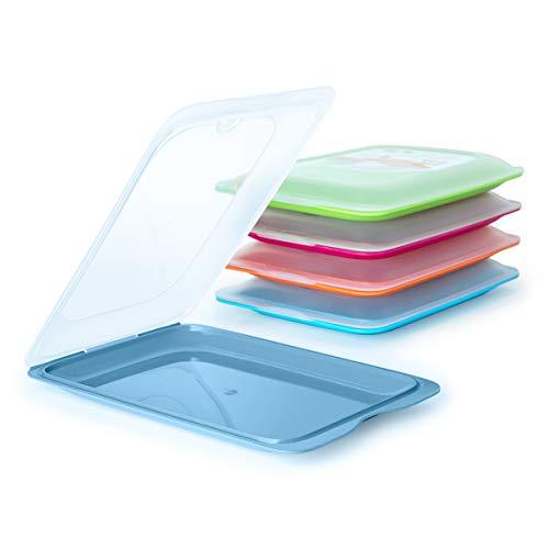 PracticFood - Set di 5 porta alimenti con sistema Fresh, conservazione ottimale delle fette in frigorifero, dimensioni 17 x 3,2 x 25,2 cm (5 x Ocean)