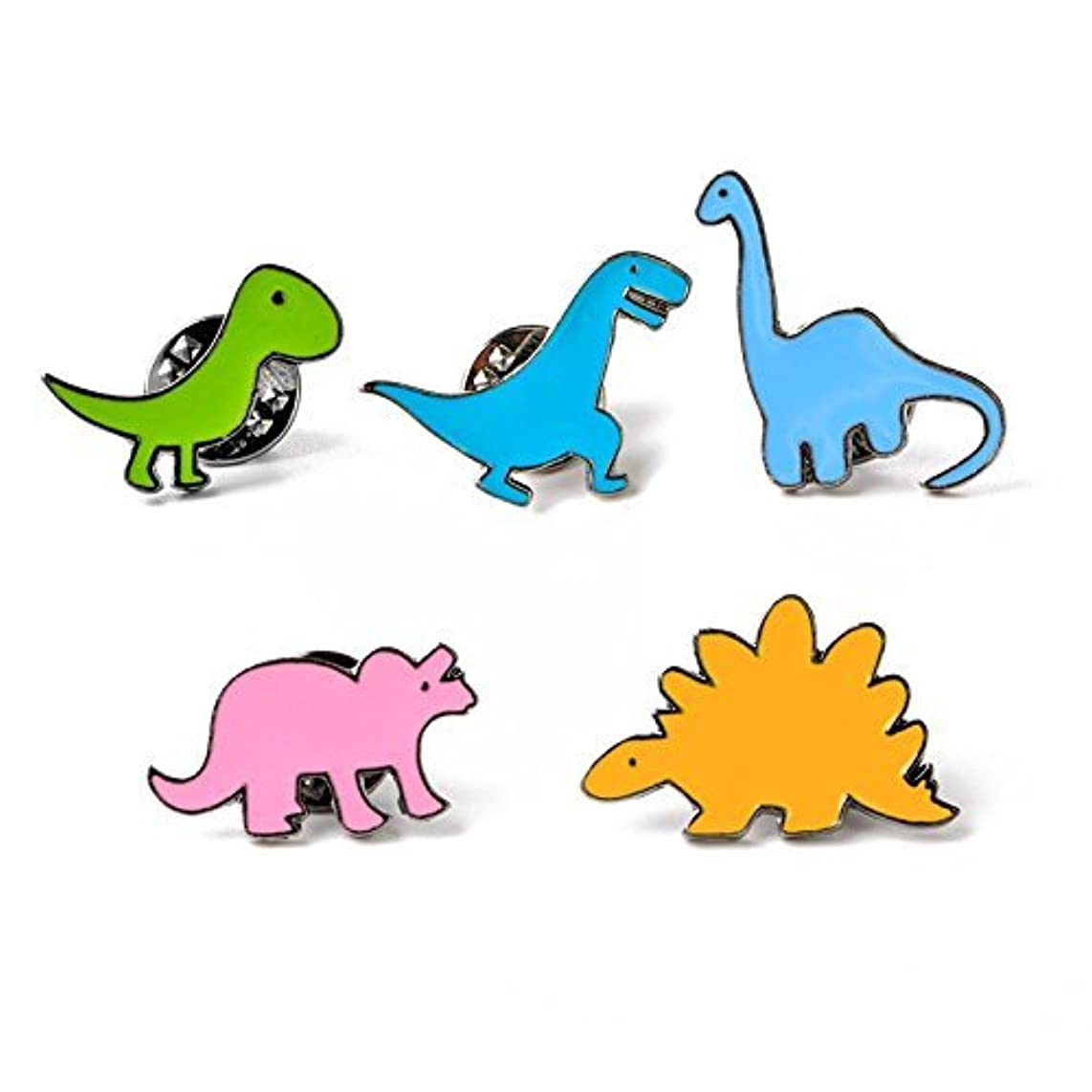 Potelin Premium Quality 5x Metal Enamel Pin Brooch Badge Cute Cartoon Dinosaur Series Brooches Suit Shirt Sweater Pin Children Birthday Pins for Children Toy Xmas Gift