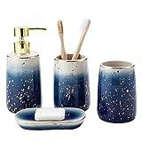 Juego de 4 accesorios de baño de cerámica para hogares de mármol, incluye jabonera, bomba dispensadora de jabón, vaso, soporte para cepillo de dientes