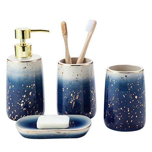Juego de accesorios de baño de cerámica de diseño moderno de 4 piezas, accesorios de baño de lujo para botellas de loción de baño, soporte de cepillo de dientes, taza de dientes, jabonera