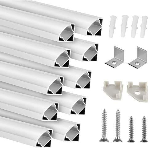 Kefflum LED profil 10 Meter LED Profil (10 * 1Meter) Aluminium 45 Grad, 10 Pack V-Form für LED Band/-Strips bis 12.3 mm