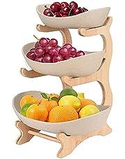 Fruit etagere, 3-tier fruitmand fruitmand Creatieve aanrecht keramische fruitschaal (bamboe en hout plank x 1, keramische kom x 3), wit (Color : Beige)