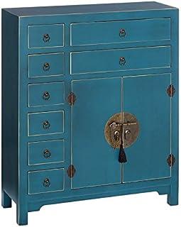 Meuble d'entrée 2 Portes, 8 tiroirs Bleu Meuble Chinois - Pekin - L 73 x l 26 x H 90 - Neuf