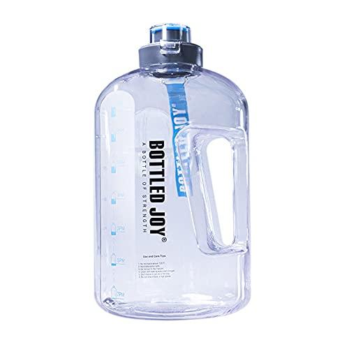 QYYL Botella Agua Deportiva Sin Fugas, Sin BPA Botella de Agua Deportiva, para Oficina, Gimnasio, al Aire Libre, Cepillo de Limpieza Incluido (1.5L,Transparent/Low Temperature)