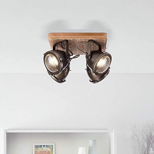 Lámpara de techo rústica con 4 focos, GU10, máx. 5 W, de...