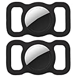 2 Pack Protective Airtag Case for Dog Collar, Pet/Dog Collar Holder Case Compatible with Apple AirTag, Waterproof Airtag Loop for GPS Tracker Lightweight Soft Anti Scratch Anti Lost Black2