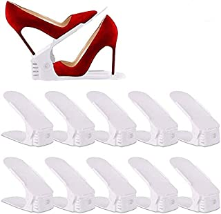 UrMsun Set de 10pcs de Organizadores Ajustables de Zapatos con Ranuras Soportes de Calzado Apilador para Zapatos Ahorro de...