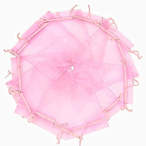 "Wuligirl 100pcs Sheer Pink Organza Bags Drawstring 5'' X 7"" License Jewelry Lipstick Pouches Baby Shower Party Wedding Favors Chocolate Candy Bags (Pink 5x7)"
