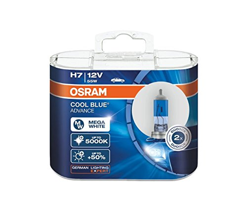 LEDPremium 2x Bombillas Halógenas H7 PX26d 12V 55W OSRAM COOL BLUE ADVANCE MORE LIGHT +50% COLOUR 5000K OFF-ROAD
