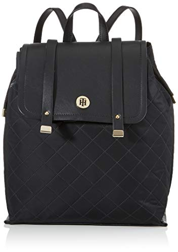 Tommy Hilfiger Damen Th Elegant Backpack Quilted Umhängetasche, Schwarz (Black), 12x35x30 cm