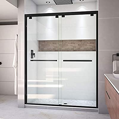 DreamLine Encore Semi-Frameless Bypass Sliding Shower Door in Satin Black, 56-60 in Width x 76 in Height, 5/16 in. (8mm) Certified Clear Tempered Glass, Smooth Gliding Open and Close. SHDR-1660760-09