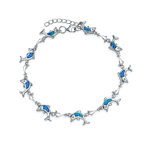 Delfín Náutica Beach Ocean Azul Inlay Creado Opal Encanto Link Brazalete De Dijes Para Mujer Para Mujer 925