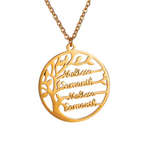 Personalised family named necklace family tree silver necklace names silver tree of life necklace for women necklace with names of children personalised necklace for mum (gold)