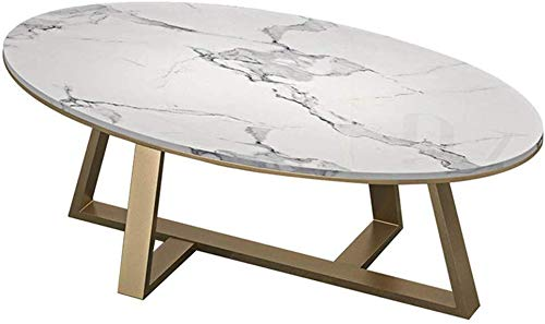 Woonkamer round salontafel Oval Coffee Table |Elegant Smooth Couch Bedside Side Table |Faux Marble |Gold Base |Living Room Decor |Wit Moderne woonkamer ronde tafel
