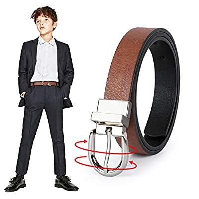 JASGOOD Kid Boy's Reversible Leather Belt Kids Girls Casual Dress Belt for School Uniform Jeans Christmas Gift (Black/Brown,Pant Size 18-22 Inch)