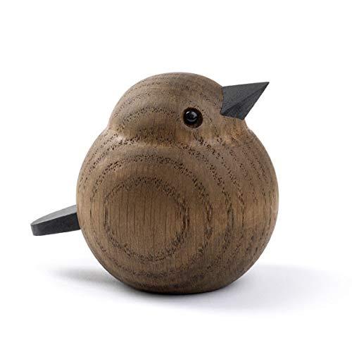 Novoform Design - Baby Sparrow - Dekofigur, Holzfigur - Spatz - Eichenholz, gebeizt - Maße (LxBxH): 6,8 x 5,5 x 6 cm