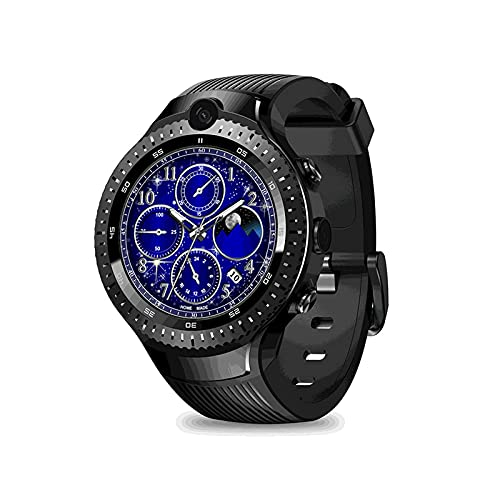 L.B.S Reloj Inteligente Dual 4G Reloj Inteligente Deportivo de 16GB GPS Reloj de Correa de Cuero híbrido de Cuatro núcleos para Hombres para Android iOS