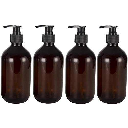 Sqxaldm PET Lotion Pumpflaschen Container 500 ml Leere Shampoo Flaschen Seifenspender Lotionspender Pumpspender Seifenspender Flaschen Pumpe Nachfüllbare Pumpflaschen Spender 4 Stücke (Braun)