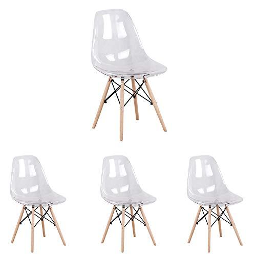 GroBKau Juego de 4 sillas de comedor estilo nórdico de acrílico transparente estilo muebles de cocina, patas de madera de haya maciza