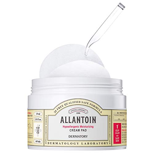 Dermatory Allantoin Hypoallergenic Moisturizing Cream Pad for Dry and Sensitive Skin | Soothing, Hypoallergenic Tested, Dermatologist Tested, 20 Toxic-Free Formula, Fragrance-Free (60 Pads)
