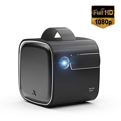 FMXYMC Tragbarer Videoprojektor 1080P 500 Zoll 30000 Stunden LED Kompatibel mit TV-Box/Laptop für Home Entertainment Mini-Projektor Projektion,Schwarz