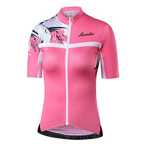 Santic Maillot Bicicleta Mujer Verano con Manga Corta,Maillot Ciclismo Mujer Verano Rosa EU M