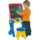 Pupitre Infantil con Pizarra Molto - Pizarra Normal, Pizarra magnética, rotuladores, Piezas (Pupitre 2 en 1 - Rojo)