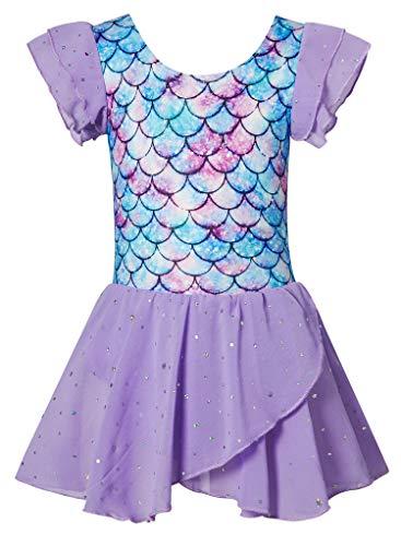 BFUSTYLE Sparkly Dance Leotard for Girls Unique Funny Dancewear Kids Ruffle Unitard With tutu Shirt Blue Purple Fuchsia Crystal Mermaid Size 5-6