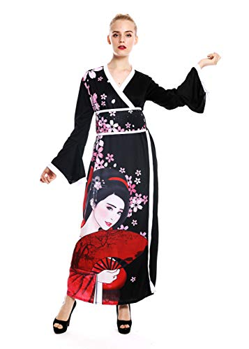 dressmeup W-0288-M/L Kostüm Damen Frauen Karneval Kimono Japan Japanerin China Geisha Kurtisane M/L