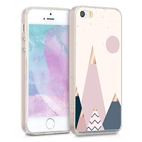 kwmobile Funda Compatible con Apple iPhone SE (1.Gen 2016) / 5 / 5S - Carcasa de TPU y montañas y Formas en Oro Rosa/Azul/Rosa Claro