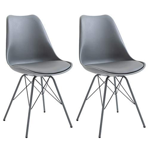IDIMEX Esszimmerstuhl Valley modern und zeitlos, Küchenstuhl Essstuhl Polsterstuhl Stühle Esszimmer Esstisch, Kunstleder grau