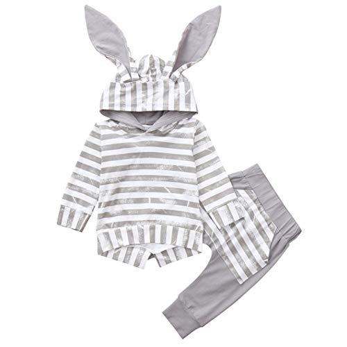 Bébé Ensemble de Vêtements, Mamum Enfant Filles Garçon Couleur Pull à Manches Longues + Costume Pantalon avec des oreilles de lapin (Gris, 80(12Mois))