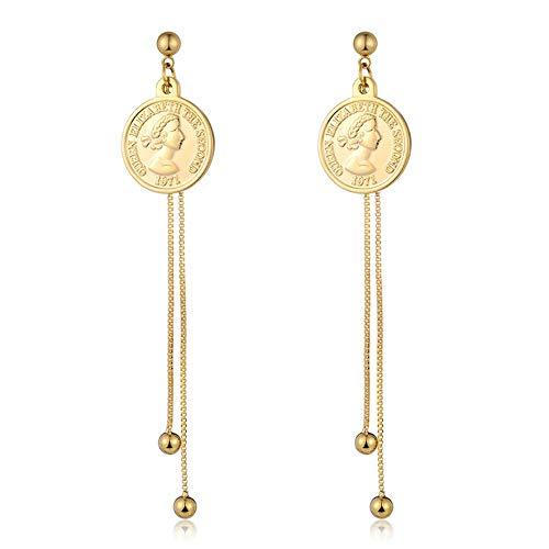 Munt hanger metalen druppel oorbel legering bengelen oorbellen, dames statement sieraden oorbellen te koop