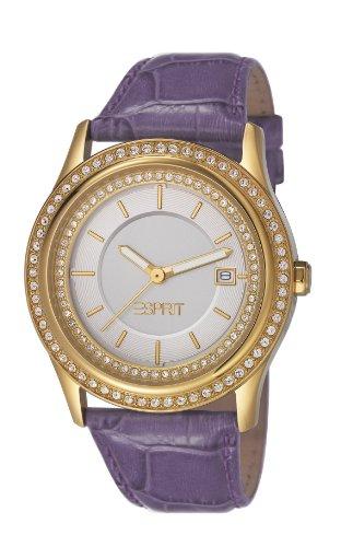 Esprit ES106132004 - Reloj analógico de Cuarzo para Mujer con Correa de Piel, Color Morado