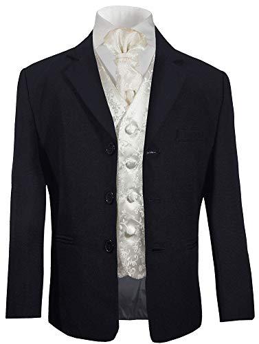 Paul Malone - Jungen Anzug für Kinder festlicher Kinderanzug blau (tailliert) + Ivory Hochzeit Weste mit Plastron 16