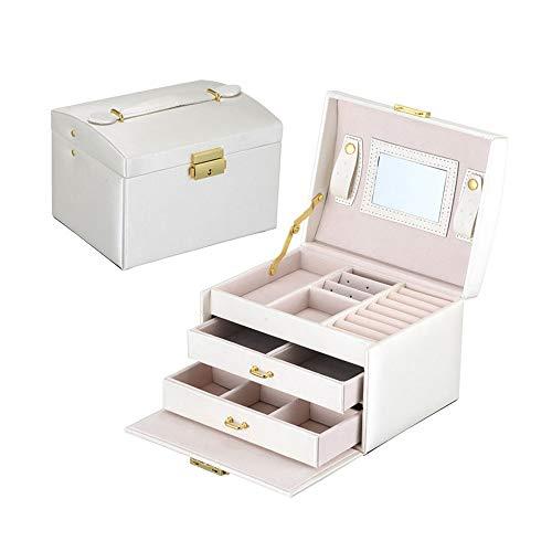 STKJ Caja De Almacenamiento De Joyas, Caja De Cuero, Organizador, Gabinete De Joyas, Caja De Regalo para Collar, Pendientes, Anillo,D