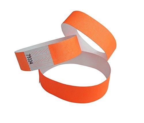 Tyvek Entry - Confezione da 100 braccialetti a scelta, 19 colori, colore: Arancione fluo