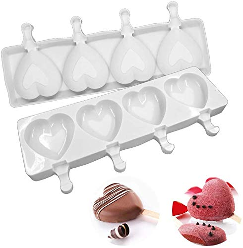 Detsnik Ice Pop Molds Silicone Popsicle Molds 4 Cavities Homemade Ice Cream Mold Heart Ice Cream Mold Reusable Soft SiliconeSilicone Popsicle Molds CakeCakesicle Mold for DIY Ice Pops