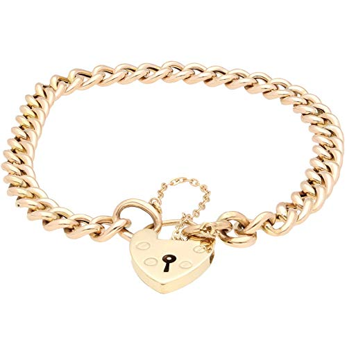 Jollys Jewellers Women's 9Carat Rose Gold 8' Hollow Bracelet w/Yellow Gold Clasp (6mm Wide & 14x20mm)