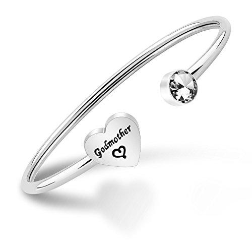 ENSIANTH, braccialetto per madrina, regalo per battesimo, regalo religioso e Acciaio inossidabile, colore: Braccialetto madrina., cod. NA