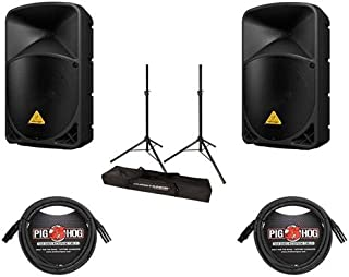 Behringer 2 Pack EUROLIVE B112D High-Power 2-Way Active PA Speaker System with Wireless Option and Integrated Mixer, 2 Pack 15' 8mm XLR Mic Cable, JamStands Tripod-Style Speaker Stand Pair
