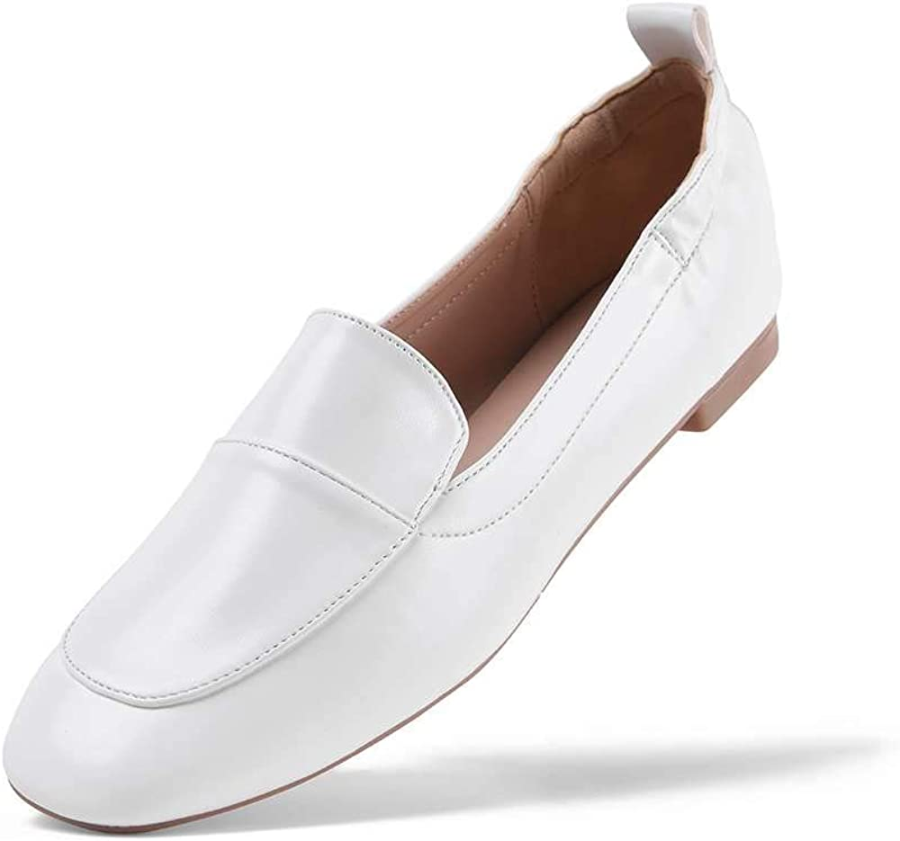GENSHUO Women's Penny Loafers,Leather Driving Style Loafer Slip On Flats Moccasins Comfort Daliy Walking Shoes
