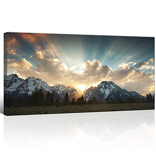 """KLVOS Yellowstone National Park Canvas Wall Art Sunrise Moment Famous American Landscape Artwork Large Motivational Living Room Dinning Room Home Wall Decoration Framed and Ready to Hang 24""""x48"""""""