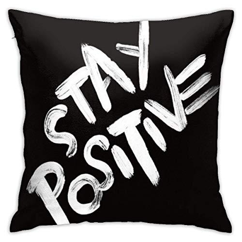 huanchen Lanza PilFodere Basse 18' x 18' Funda decorativa de forma cuadrada Stay Positive para juego de cojines para sofá