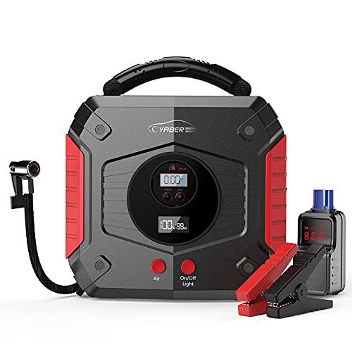YABER Avviatore Batteria Auto 4 IN 1, Booster Avviamento Auto con Compressore Portatile, 2500A Avviatore Emergenza per Auto (Tutti i Motori a Benzina o 8L Diesel), Power Bank 24800mAh con Torcia LED