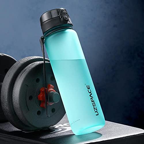 Nueva botella de agua deportiva de 1000 ml, botella agitadora a prueba de fugas portátil gratuita, vasos de plástico, artículos de envío gratuito al aire libre-0.5L, Spindrift Blue