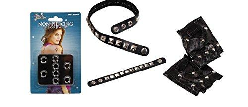 Kostüm-Set Punk-Rock Schwarz mit Nieten, Armband Collier Handschuhe und Piercing-Set